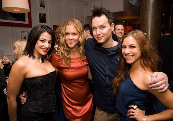 Mark with A Different Spin co-host Amy Schumer (in red) and Fuse Top 20 Countdown hosts Juliya Chernetsky and Allison Hagendorf