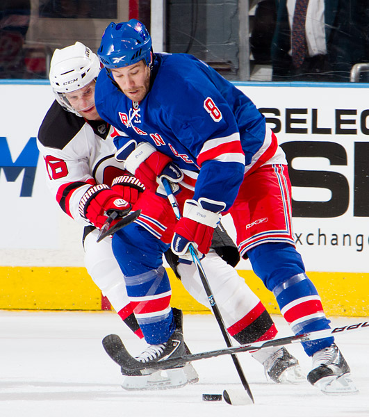 New York's Brandon Prust and New Jersey's Anton Volchenkov