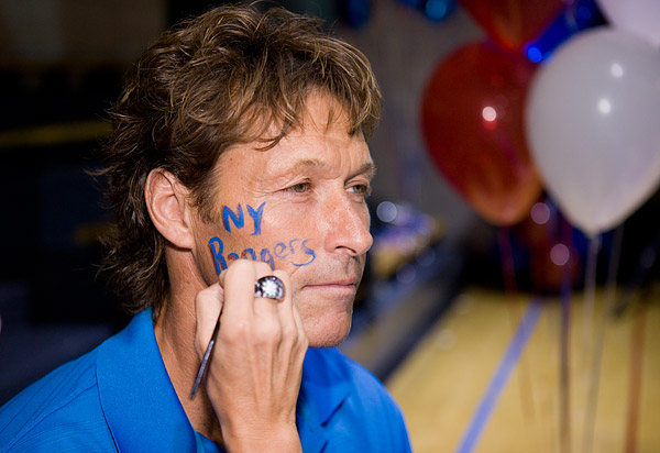 Ron Duguay, who played for the Rangers from 1977-1983 and 1986-1988, shows his Rangers pride
