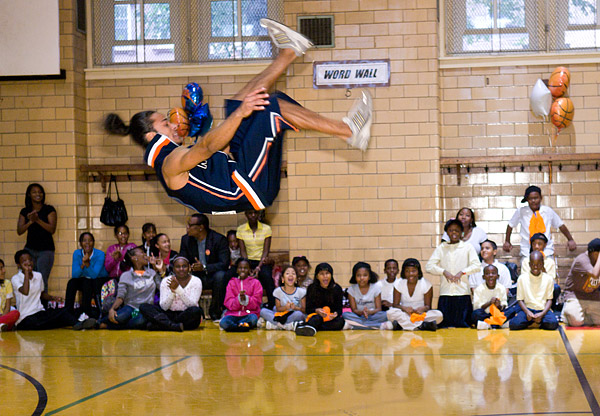 The Knicks Acroback Tumblers put on a show