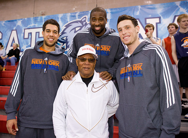 Landry Fields, Raymond Felton and Andy Rautins with Jim Couch