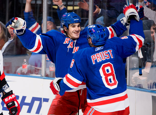 New York's Brian Boyle celebrates his goal with teammate Brandon Prust