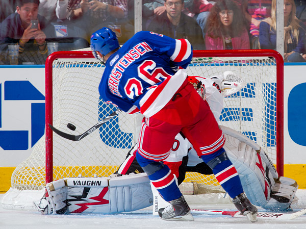 Erik Christensen scores the winning shootout goal for the Rangers