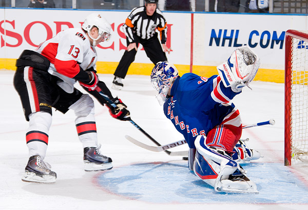 Followed by Henrik Lundqvist's game winning save on Peter Regin's shootout attempt