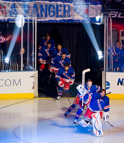 Henrik Lundqvist leads his team onto the ice at last year's home opener