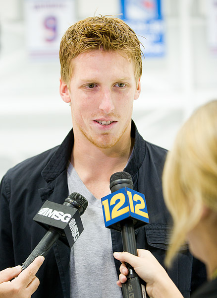 Marc Staal being interviewed by the press