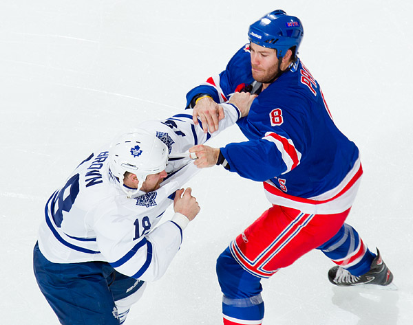 New York's Brandon Prust fights Toronto's Mike Brown