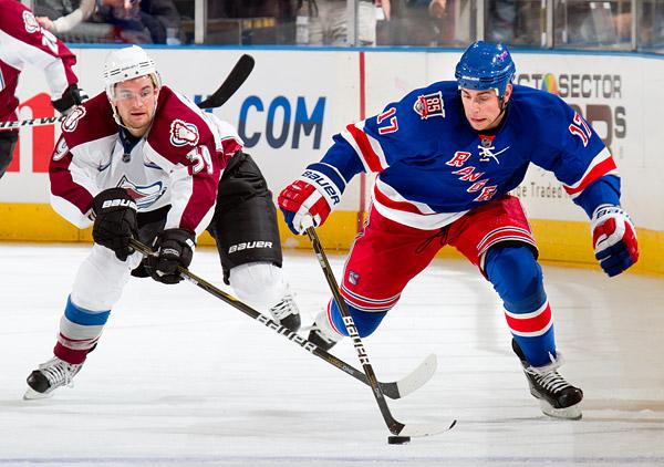 Colorado's TJ Galiardi and New York's Brandon Dubinsky