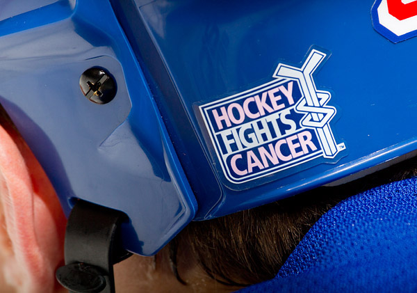 The Rangers hosted Hockey Fights Cancer awareness night, during which players wore helmets with special decals and pink chinstraps