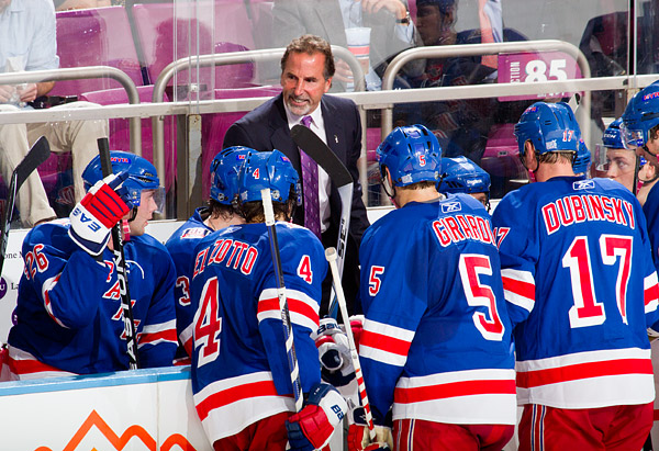 Rangers head coach John Tortorella calls a timeout after his team falls behind. In hockey, each team can call only one timeout in the entire game, and they usually don't use it.
