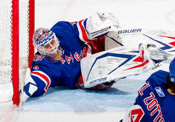 Rangers backup goalie Martin Biron had a tough night in his regular season home debut, allowing 5 goals on 25 shots