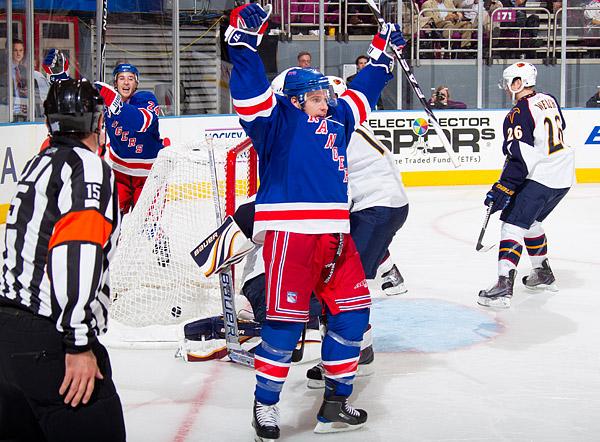 Todd White celebrates his first goal as a Ranger