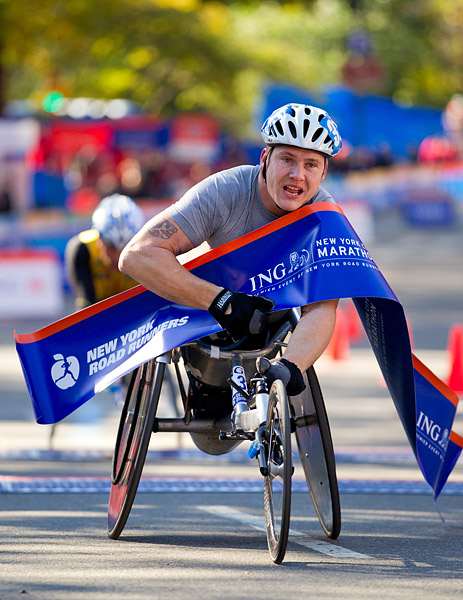 David Weir of the UK won the men's wheelchair race