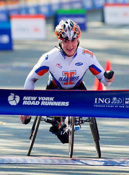 American Tatyana McFadden, winner of the women's wheelchair race