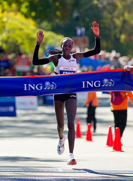 Edna Kiplagat of Kenya, winner of the women's race