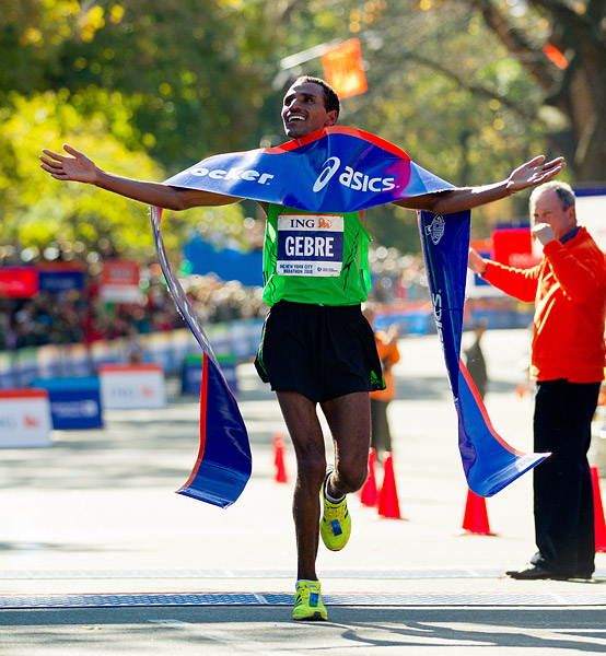 Gebre Gebremariam of Ethiopia won the men's race with a time of 2:08:14