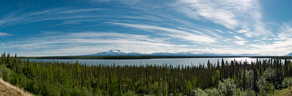 Panoramic view of Willow Lake and the Wrangell Mountain Range, including Mount Drum (12,010 ft.)
