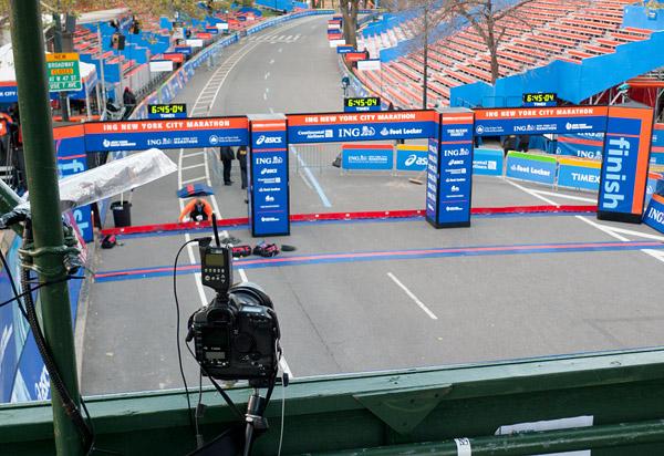 New York City Marathon finish line remote setup