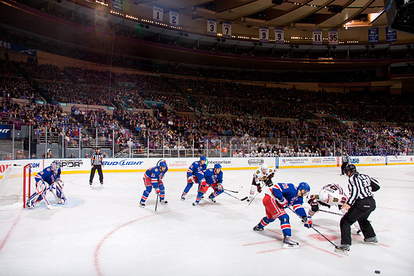 Faceoff in the Rangers' zone