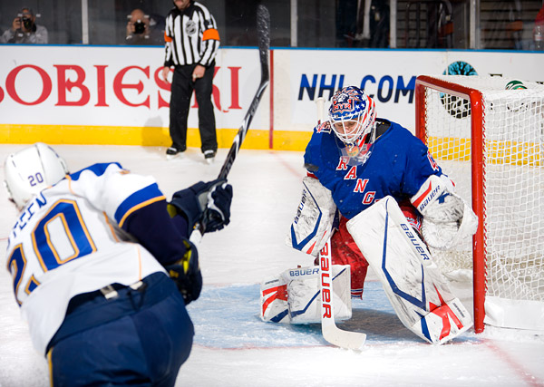 New York's Martin Biron makes a save against St. Louis's Alexander Steen