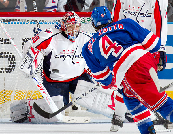 The Rangers' Michael Del Zotto fires a shot on Capitals goalie Michal Neuvirth
