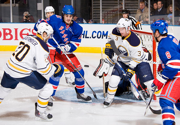 The Rangers' Brian Boyle attempts to score against the Sabres
