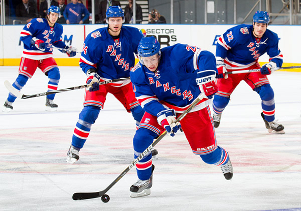 (Near to far) New York's Derek Stepan, Steve Eminger, Brian Boyle and Michael Del Zotto