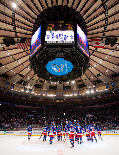 Rangers stick salute at center ice