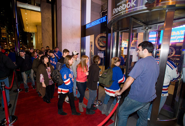 Rangers fans make their way into the NHL Store