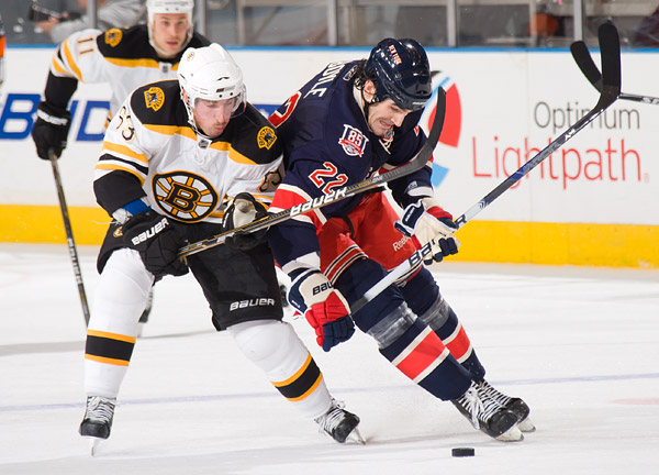 Boston's Brad Marchand and New York's Brian Boyle