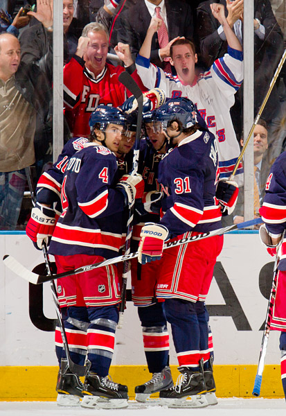 Marian Gaborik (second from left) and the Rangers celebrate their second goal of the game