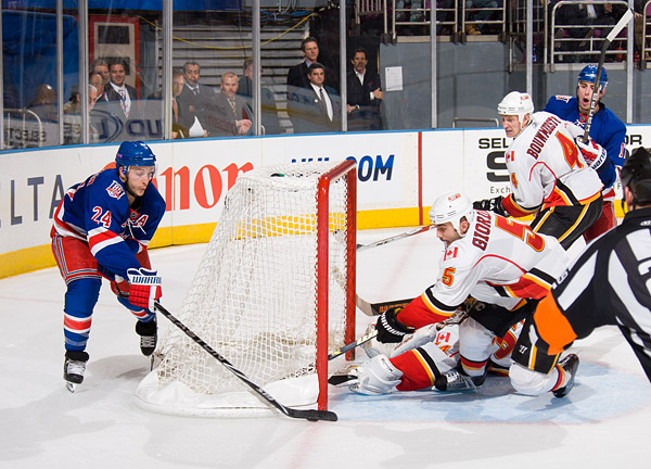 The Rangers' Ryan Callahan nearly scores on a wrap-around attempt