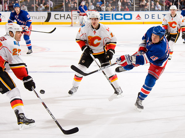 New York's Ruslan Fedotenko fires a shot on goal