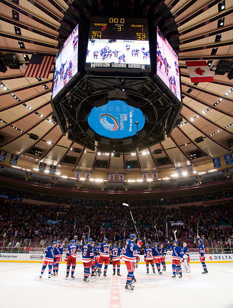 The Rangers salute the crowd at center ice after the win