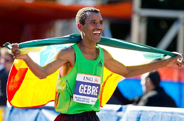 Gebre Gebremariam of Ethiopia celebrating after winning the New York City Marathon.
