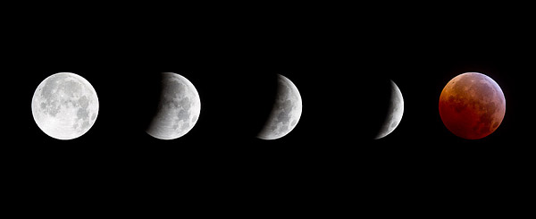 A composite image of a total lunar eclipse on the night of the winter solstice, the first time since 1638 that the two have coincided.