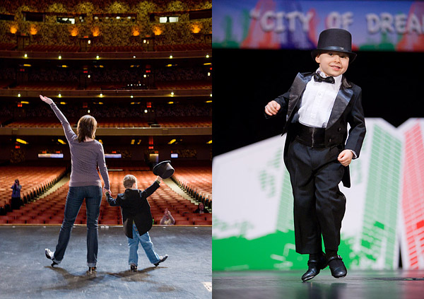 4-year-old Oscar rehearsing and later performing his tap dance number at the Garden of Dreams Foundation's annual talent show at Radio City Music Hall.