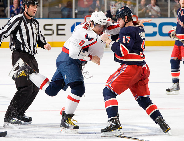 Capitals superstar Alex Ovechkin fought Brandon Dubinsky in the second period. The fight was only the second of Ovechkin's career, his first since his rookie season in 2006