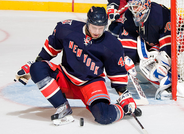 Rangers goalie Henrik Lundqvist couldn't have posted his 5th shutout of the season without key blocked shots from Steve Eminger and his teammates, who rank second in the league in that category