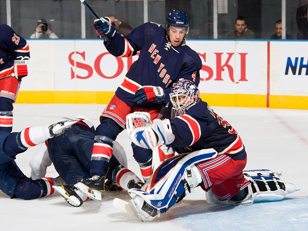 Rangers goalie Henrik Lundqvist makes one of 31 saves for his 29th career shutout