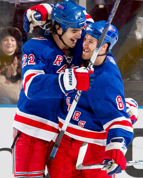 Prust celebrates with teammate Brian Boyle