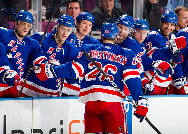 Erik Christensen scores the only shootout goal to win the game for the Rangers