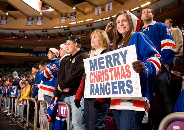 A Rangers fan in the holiday spirit during pre-game warmups