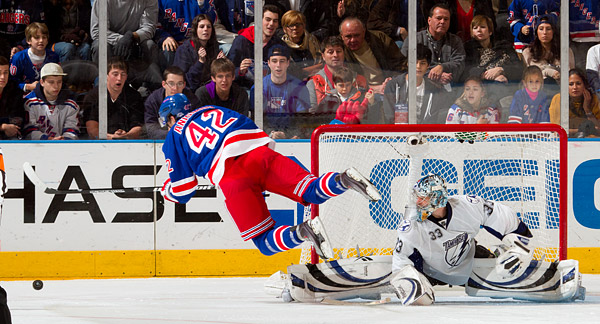 New York's Artem Anisimov has his shootout shot blocked, but should have earned style-points for getting some air