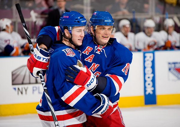 The Rangers' Derek Stepan and Marian Gaborik celebrate Stepan's goal