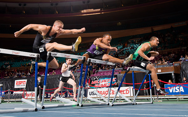 Ashton Eaton of the U.S. (right), wins the 60 meter hurdles. He also won the Millrose Multi Challenge, which combined the scores of several competing decathletes in hurdles, shot put and high jump