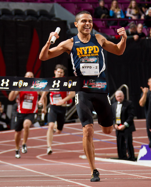 The NYPD defeats the FDNY in a special 4x1 lap relay