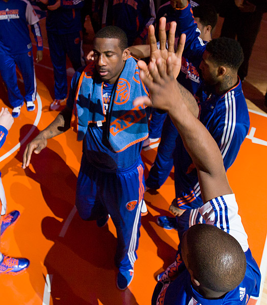 The Knicks' Amar'e Stoudemire high-fives Raymond Felton during pregame player introductions