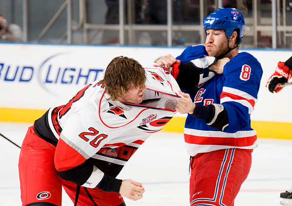Carolina's Troy Bodie fights New York's Brandon Prust