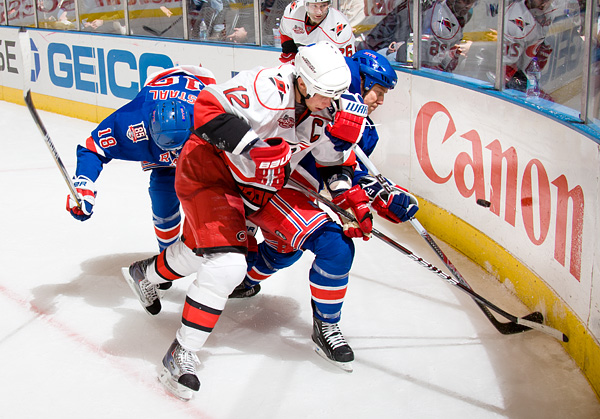 Carolina's Eric Staal and New York's Ruslan Fedotenko